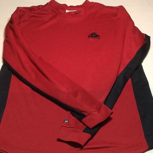 6998251b Nike Shirts | Mens Acg Long Sleeve Red Black Shirt | Poshmark